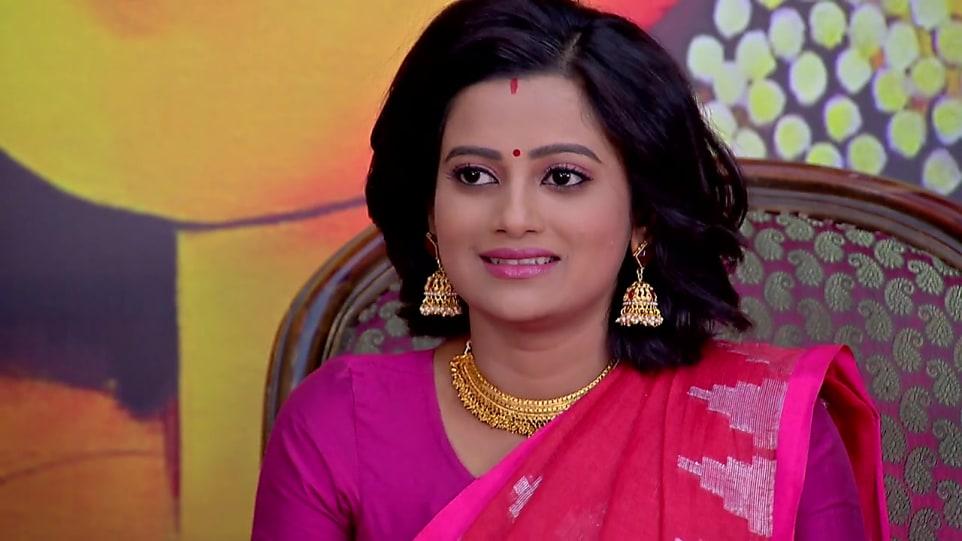 Ushasi Ray Pink Blouse look, Episode 425 style, Bokul Kotha