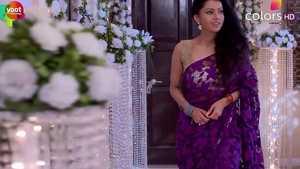Praneeta Sahu Purple Saree look, Episode 361 style, Kasam