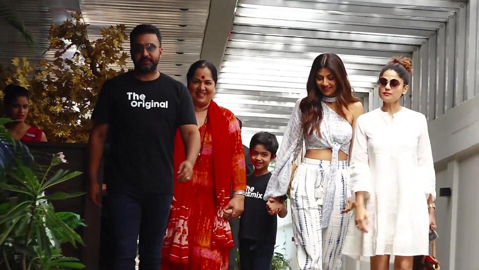 Raj Kundra Blue Jeans look, Spotted Shilpa Shetty With