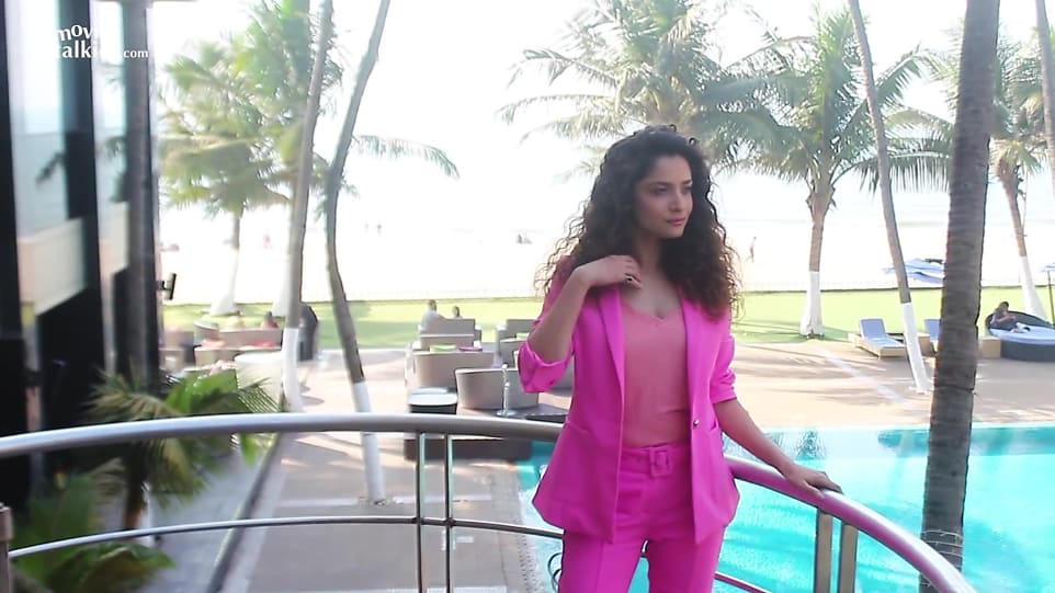 Ankita Lokhande Pink Tops and Pink Trouser look, Ankita