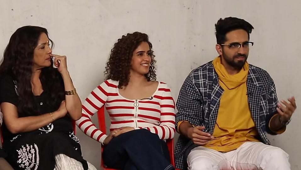 Sanya Malhotra , , matching with look from Ayushmann