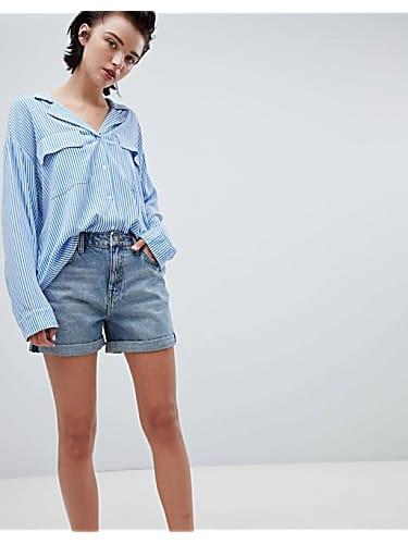 87e43359b5 weekday boyfriend shorts with rolled hem in week blue