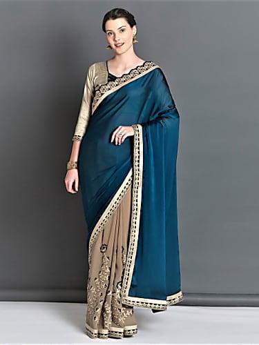 61a6525386d4d4 Rubina Dilaik Teal Saree look Promo style inspiration   Shakti ...