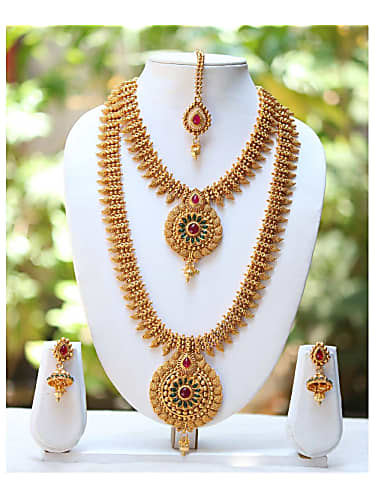 387b2bc627e one gram gold plated temple mango design long short necklace bridal jewelry