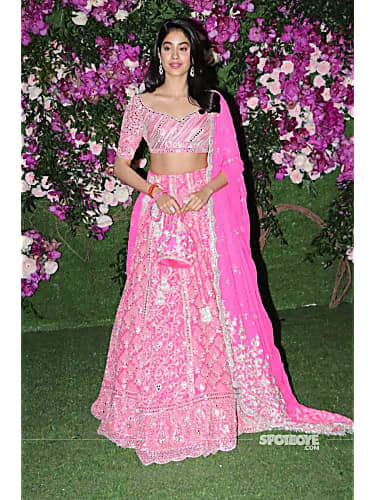 Jhanvi Kapoor Pink Lehenga look, Akash Ambani Wedding In