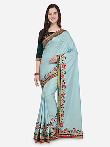 0bc73fa5d57 Priya Shinde Suryawanshi Blue Saree look Episode 151 style ...