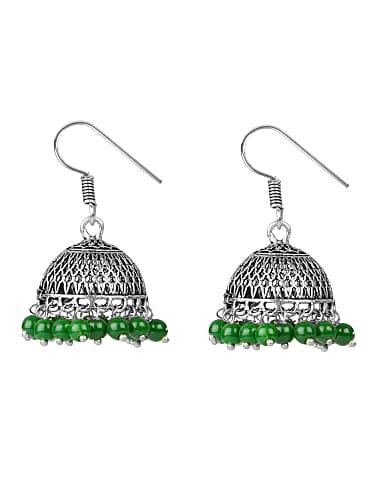 589b78f69d stripes oxidised german silver with beads jhumki dangle earrings