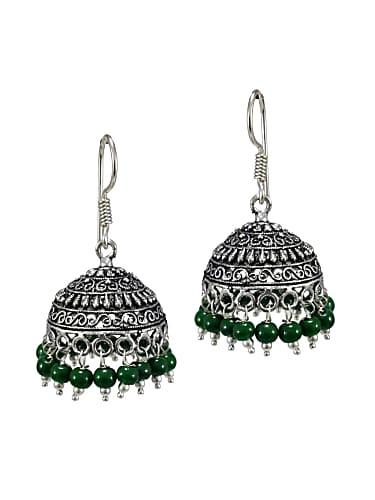 ff8d3b50e8 v l impex s shape print black beads green metal jhumka earrings