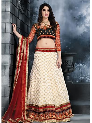 Deepika Padukone White Lehenga look Adhoore style