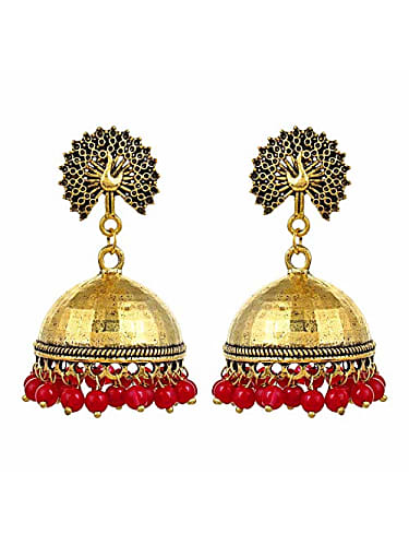 88e9bdfa2 saissa oxidized metal beaded golden stylish latest jhumka earrings