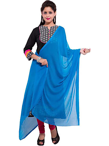 Usha Sai Blue Dupatta look, Episode 453 style, Azhagiya