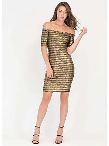 1df3c394 consider owning the look with glisten up metallic off-shoulder dress