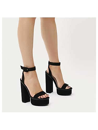 e50e0c3b585c valencia platform heels with trim in black faux suede
