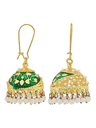 2e336ff9d the jewelbox flower gold plated rani pink meenakari jhumki earring for women