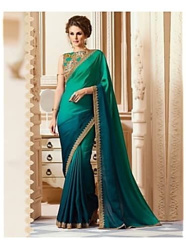 23a3ce22390fe teal green and pine green shaded sari with embroidered lace border