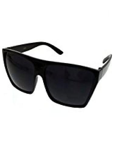 5396be7348 super dark black lens sunglasses flat top square oversized mob style