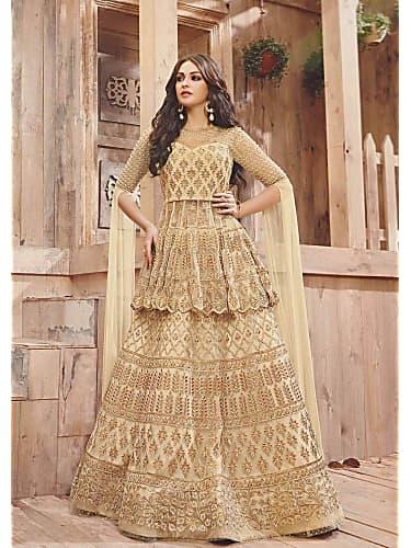 60235ffe Eisha Singh Gold Lehenga look Episode 21 style inspiration | Ishq ...