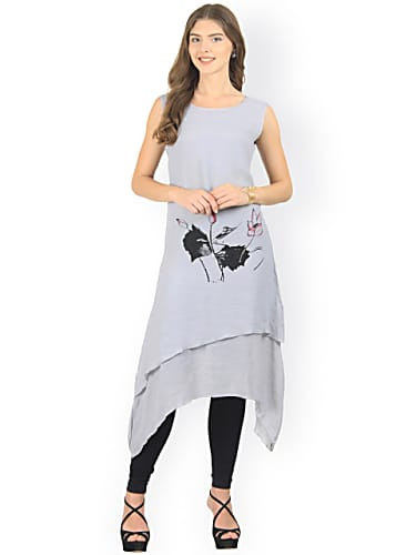 1b413a289 consider making a look with silouettes women grey printed layered a-line  kurta
