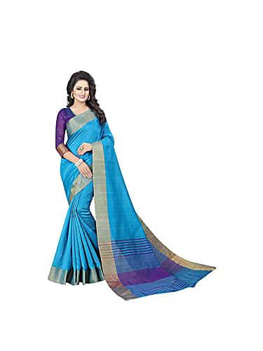 f17317308839f3 go for craftsvilla blue and gold color cotton blend plain designer saree