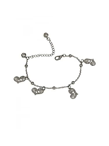trend arrest spot light collection silver heart bracelet