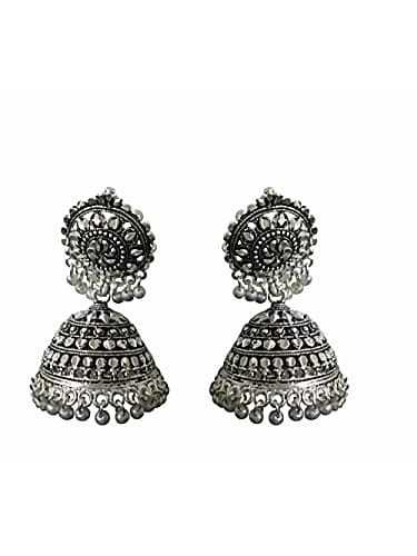 deco junction oxidized silver non precious metal round jhumka earrings