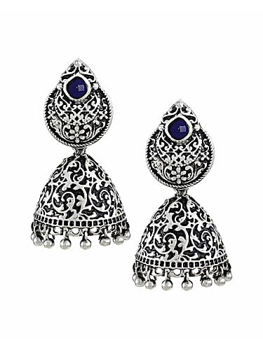 zaveri pearls oxidized silver jhumki earrings for women (zpfk5700)