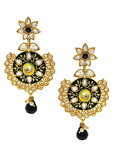 518b013437 anuradha art black-gold colour designer wonderful traditional long earrings