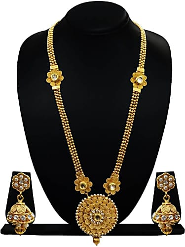 872581b3b5 ... ethnic one gram gold plated long necklace set. Get. Flanoy Suggest a  better product. Save; Share. Facebook; Twitter. arts chetan copper jewel set