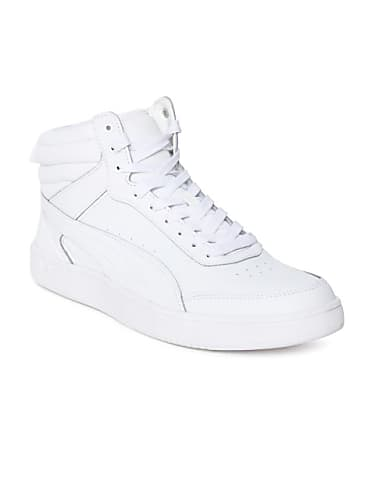760b257943d puma men white solid leather rebound street v2 l idp high-top sneakers