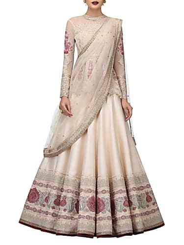 10852a7b43 Mrunal Thakur Beige Blouse look, Lucknowi Chikankari style, Kalki ...