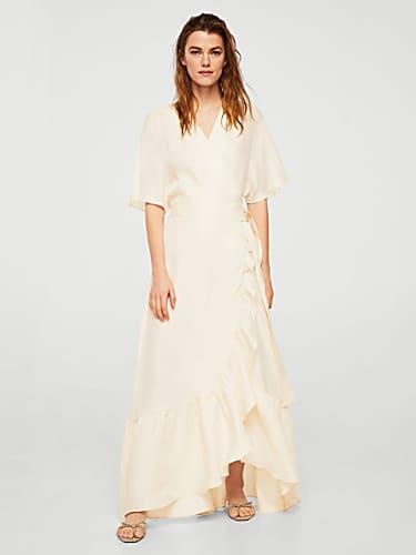 5066dc546c20 mango women cream-coloured solid maxi dress