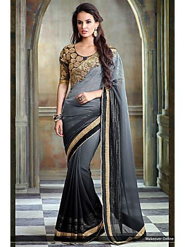 591fd2a587a4bb Divyanka Tripathi Grey Saree look Episode 1035 style inspiration ...