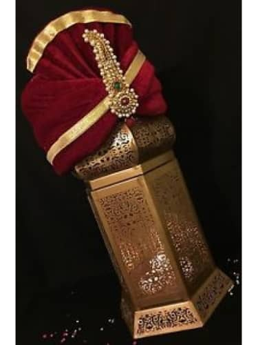 Ethnic Ruby Jewelled Groom Red Turban Brooch Pin Pagri Kalgi Sherwani// Brooch