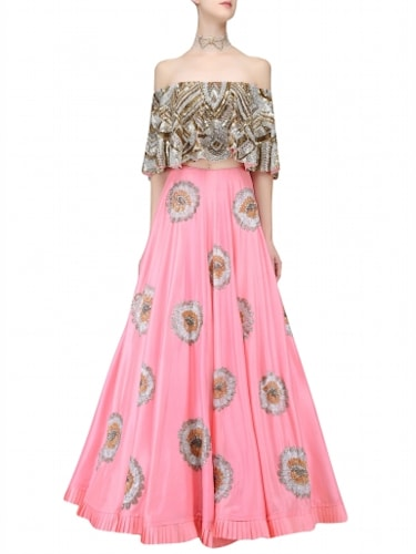 97319feb043a6 Manish Malhotra Gold And Silver Sequins Off Shoulder Crop Top With Bright  Pink Lehenga