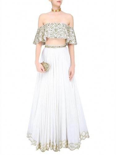 5bd6ba5ac9311 Mahima Mahajan Ivory Floral Embroidered Off Shoulder Blouse And Lehenga  Skirt Set